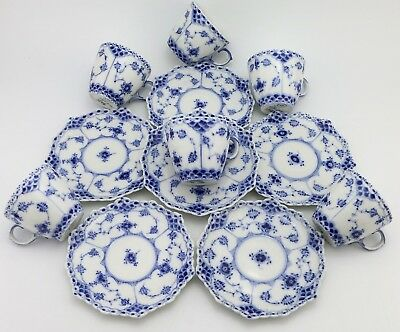 Full Lace 6x Cups & Saucers nr 1038 - Royal Copenhagen Blue Fluted - 1st Quality