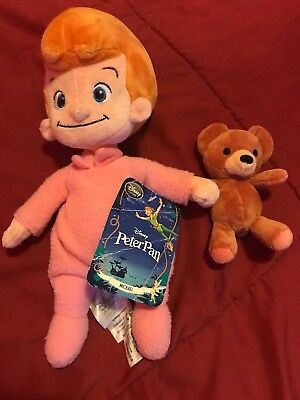 "12"" Michael & Teddy Bear - Plush/Doll Peter Pan - The Disney Store Rare W/ Tags!"