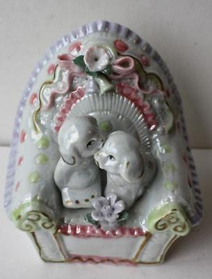 Vintage Puppies Sitting on a Mother of Pearl color Chair Ornate-Adorable Figure
