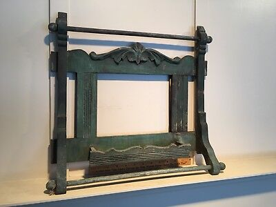Vintage Adirondack Victorian Shaving Mirror in Old Green Paint All Original Wow