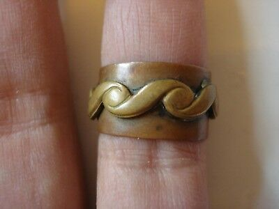 Lovely Unique Gift~Antique 1880's Solid Copper Brass Band Ring~Size5-6~Free Ship