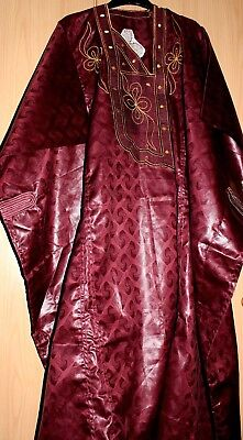 """Classic-West-African-fully-embroiderered Swiss Brocade Wine Danshiki ~48"""" Long!"""