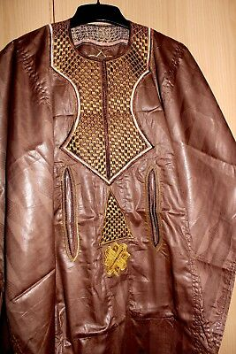 Classic-West-African-fully-embroiderered Swiss Brocade Brown Danshiki ~Fast P&P!