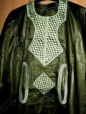 Classic-West-African-fully-embroiderered Swiss Brocade Green Danshiki ~Fast P&P!