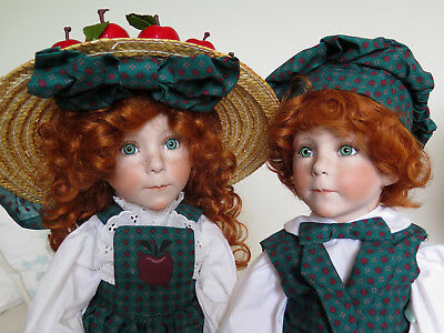 "1994 APPLE ANNIE + APPLE ANDY 24"" porcelain dolls by LINDA RICK / THE DOLL MAKER"