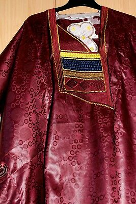 Classic-West-African-fully-embroiderered Swiss Brocade Wine Danshiki ~Fast P&P!