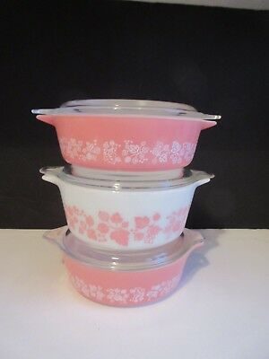 Vtg Pyrex Pink Gooseberry Casseroles Set of 3 with two 471 and a 472 GORGEOUS!