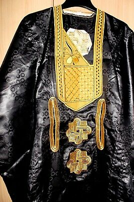 Classic-West-African-fully-embroiderered Swiss Brocade Black Danshiki ~Fast P&P!