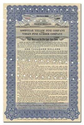 Goodyear Yellow Pine Co & Virgin Pine Lumber Co Bond Signed by Lucius Crosby