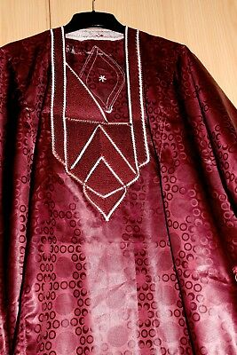 Classic-West-African-fully-embroiderered Swiss Wine Brocade Danshiki ~Fast P&P!