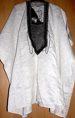 Classic-West-African-fully-embroiderered White Swiss Brocade~Fast P&P!