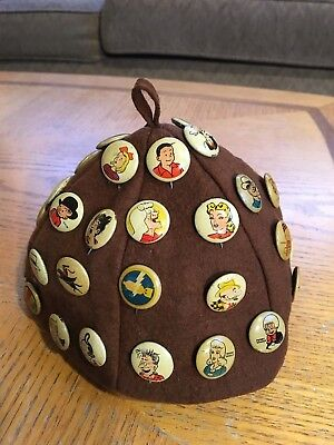 """Vintage Beanie with 42 Kellogg""""s Pep pins ~ Dick Tracy, Moon Mullins Etc."""