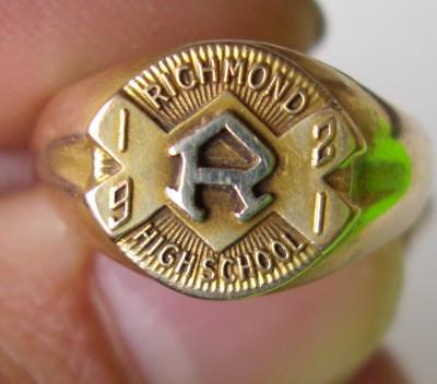 1921 10K Class Ring From Richmond H.s. Richmond, Indiana