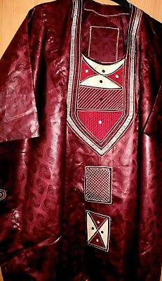 """Classic-West-African-fully-embroiderered Wine Swiss Brocade~48"""" Long!"""