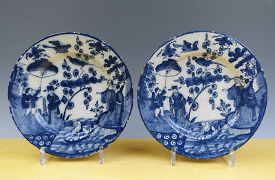 Antique Superb Pair of Dutch Delft Plates Chineses Kangxi-Style Circa 1750