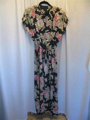 VINTAGE 1940s NAVY BLUE FLORAL PRINT COLD RAYON ~ WRAP DRESSING GOWN ~ MED TALL