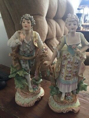Estate Find Antique French Bisque Large Porcelain Man & Woman Beautiful