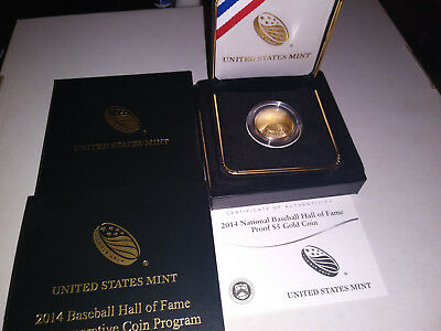 2014-W Gold $5 Baseball HOF Proof (w/box & COA)