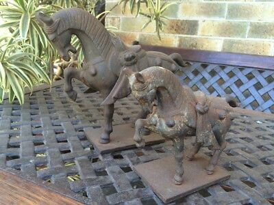 Antique French  Home Decor 1850's Bronze/brass Heavy Rare Pair Horses