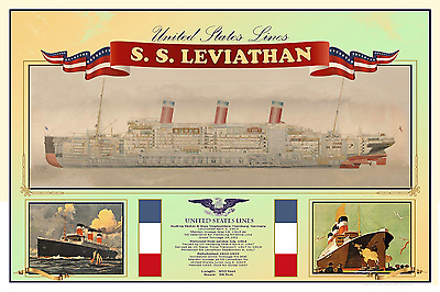 SS Leviathan Poster ~ United States Lines 12 x 18