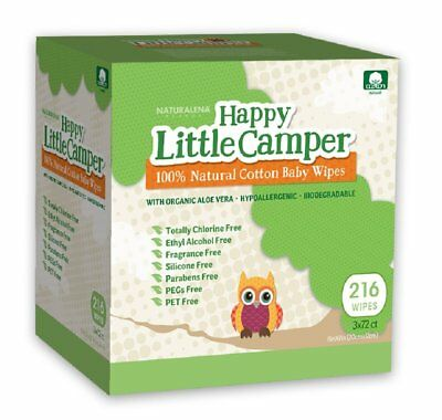 Happy Little Camper Baby Wipes, Natural All-Cotton with Organic Aloe, for Skin,
