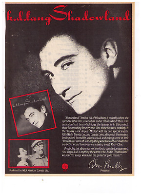 "1988 K.D. Lang ""Shadowland"" Record Album Release Print Advertisement"