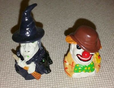 (2) HINGED Pewter Thimbles-Witch and Clown(Handcrafted-Unique!)