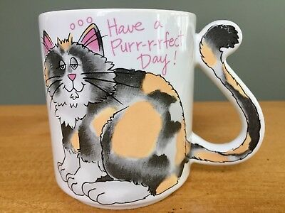 """CALICO KITTY CAT Lover """"Have A Purr-fect Day!"""" Tail Handle Coffee Tea GIFT MUG!"""