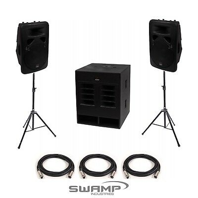 "SWAMP 18"" Subwoofer Sub + 2x FOH 12"" Powered Speaker PA System - 960W RMS"
