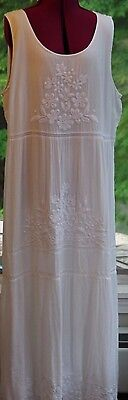 J.Jill WHITE TIER EMBROIDERED MAXI LINED DRESS SZ XL/1X NWOT $129 W/DRY