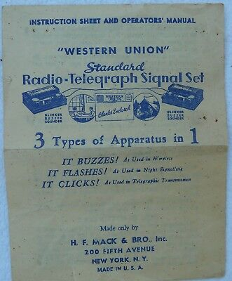 """WESTERN UNION"" Vintage INSTRUCTIONS SHEET AND OPERATORS MANUAL Radio-Telegraph"