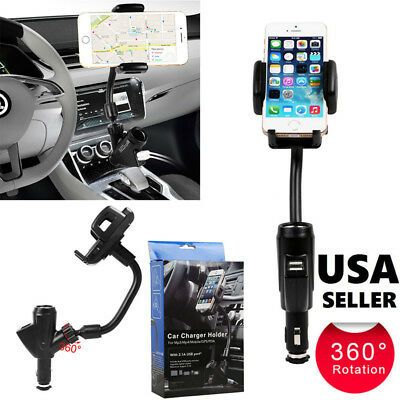 DUAL USB CAR Charger Cigarette Lighter Mount Holder For