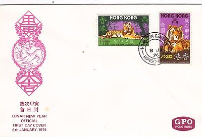 """Hong Kong, 1974, """"year Of Tiger"""" Stamp Set On Official Fdc  Fresh Condition"""