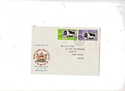 """Hong Kong, 1971 , """"year Of Pig"""" Stamp Set On Addressed Official Fdc With K.c.#4"""