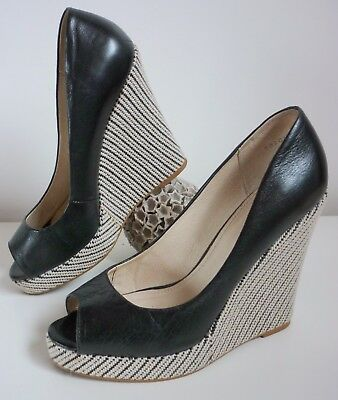 Wittner Shoes Espadrilles Wedges Shoes High Heel Ladies Black Leather Shoes