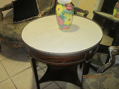 Antique Table  French Louis XVI Style round with Marble top