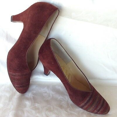 Vintage Suede ALL 100% LEATHER Ochre Brown Size 7.5 Low Heels Winter Court Shoes