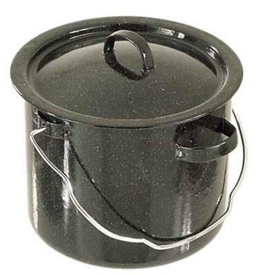 Billy Can Black Enamel Steel Glaze Canister Cooking Camping Brew Food Tea Coffee