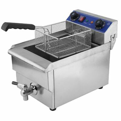 Commercial Restaurant Electric 13L Deep Fryer Stainless Steel + Timer Drain BT