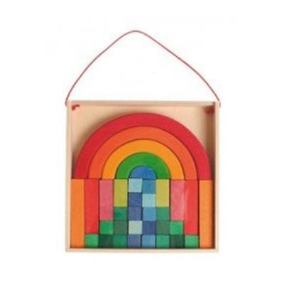 Grimm's Rainbow Circle Small Building Set Wooden Kids Educational Play Toy Kit