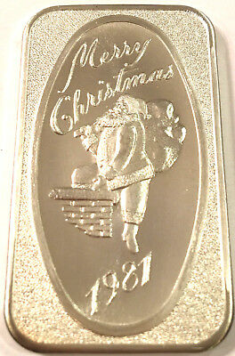 1981 Dahlonega Mint Merry Christmas 1981 1Troy oz .999 Sterling Silver Art Bar#3