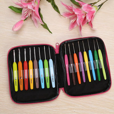 16pcs Multi Colour Crochet Hooks Yarn Knitting Needles Set Kit with Case Tool KY
