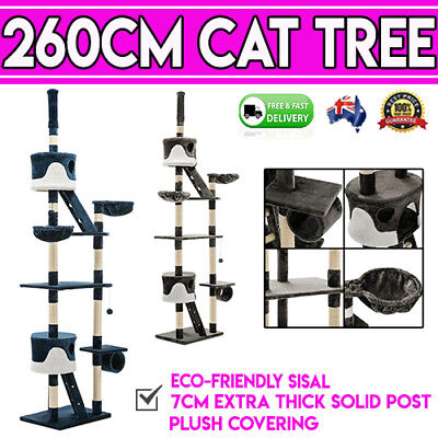 260cm Huge Cat Kitten Scratching Tower Tree Grooming Post Pole Gym Activity Toy