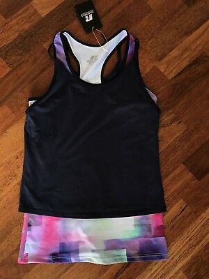 Russell Athletic Sports Gym Running Active Top Digital Layered Tank Size 8 BNWT