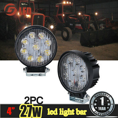 2Pcs 4 Inch Round Pods Spot Off Road Work Light Headlight Tractors Side By Side