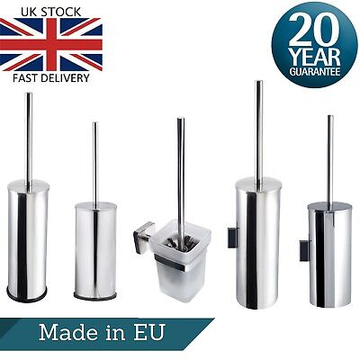 Toilet Brush and Holder Stainless Steel Free Standing or Wall Mount Cleaning Set
