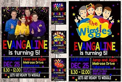Wiggles Personalised Photo Birthday Invitations Printed Or Digital