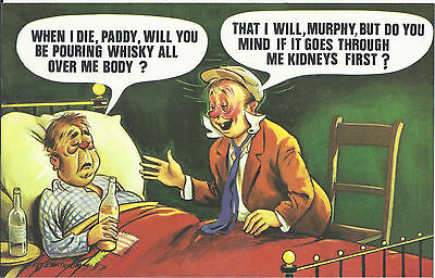 Vintage 1970's Bamforth COMIC Postcard (as new) PADDY Whisky all over body #483