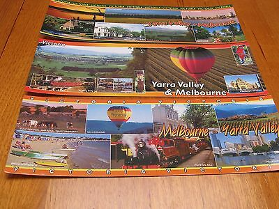 Three Large Yarra Valley and Melbourne SUPER VIEWS Postcards - mint unused