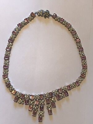 Stunning Art Deco Ladies Pink White Crystal Set Chrome 1930's Necklace Jewellery